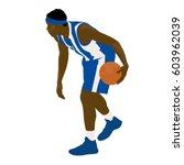basketball player in blue... | Shutterstock .eps vector #603962039