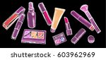 makeup items set. hand drawn... | Shutterstock .eps vector #603962969