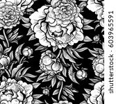 vector black and white peony... | Shutterstock .eps vector #603965591
