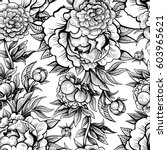 vector black and white vintage... | Shutterstock .eps vector #603965621