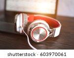headphones with listening music.... | Shutterstock . vector #603970061