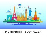 countries   modern vector line... | Shutterstock .eps vector #603971219