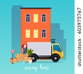 moving truck and cardboard... | Shutterstock .eps vector #603975767