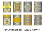 set template of postcards with... | Shutterstock .eps vector #603975944