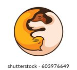 modern dog and cat yin yang... | Shutterstock .eps vector #603976649