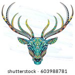 patterned head of the fox on...   Shutterstock .eps vector #603988781