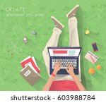concept of working at the park. ... | Shutterstock .eps vector #603988784