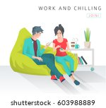 young people sit on bean bag... | Shutterstock .eps vector #603988889