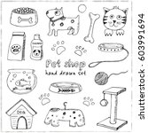 Stock vector hand drawn doodle pets stuff and supply icons set vector illustration vet symbol collection 603991694