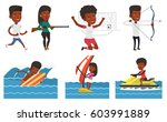 african woman sitting on water... | Shutterstock .eps vector #603991889