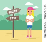 past or future. young concerned ... | Shutterstock .eps vector #603997841