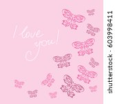 stylish card with a butterflies ... | Shutterstock . vector #603998411