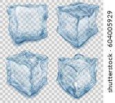 set of realistic transparent... | Shutterstock .eps vector #604005929