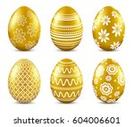 Gold Easter Eggs With Patten...