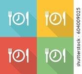 meal breaks flat icon concept | Shutterstock .eps vector #604009025