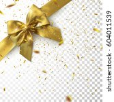 golden bow and ribbon with... | Shutterstock .eps vector #604011539