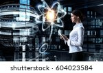 woman scientist making research ...   Shutterstock . vector #604023584