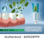 antibacterial toothpaste ads.... | Shutterstock .eps vector #604028999