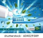 antibacterial toothpaste ads.... | Shutterstock .eps vector #604029389