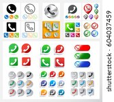 set of phone icons and logos in ... | Shutterstock .eps vector #604037459