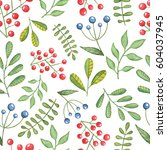watercolor seamless pattern... | Shutterstock . vector #604037945