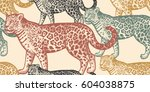 seamless pattern with animals... | Shutterstock .eps vector #604038875
