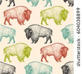 Seamless pattern with animals North America Bison. Hand drawing of wildlife. Vector illustration art. Black, white, green, blue and red color. Vintage. Design for fabrics, paper, textiles, fashion.   Shutterstock vector #604038899