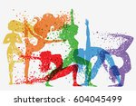 fitness background with woman... | Shutterstock .eps vector #604045499
