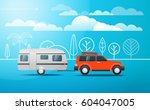 modern car on the way. vacation ... | Shutterstock .eps vector #604047005