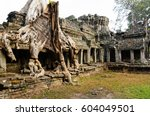 preah khan  part of khmer... | Shutterstock . vector #604049501
