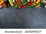 big set of fresh vegetables on... | Shutterstock . vector #604049657
