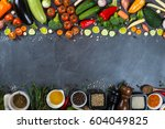 big set of vegetables and... | Shutterstock . vector #604049825