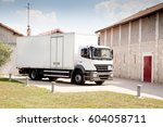 the truck has just made a... | Shutterstock . vector #604058711