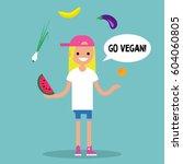 modern lifestyle. go vegan.... | Shutterstock .eps vector #604060805