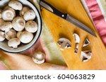 Raw Champignon Mushrooms In...