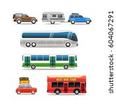 different road vehicles vector... | Shutterstock .eps vector #604067291