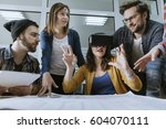 start up team of freelancers in ... | Shutterstock . vector #604070111