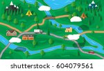 suburban map with houses with... | Shutterstock .eps vector #604079561