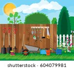gardening tools set. equipment... | Shutterstock .eps vector #604079981