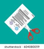 scissors cutting contract... | Shutterstock .eps vector #604080059