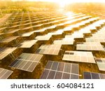 beautiful sunset over solar... | Shutterstock . vector #604084121
