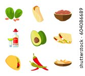mexican taco  burrito and... | Shutterstock .eps vector #604086689