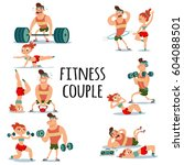 fitness couple man and woman... | Shutterstock .eps vector #604088501