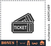 ticket icon flat. simple... | Shutterstock . vector #604091489