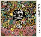 cartoon hand drawn doodles... | Shutterstock .eps vector #604092224