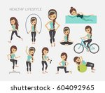 healthy lifestyle set. vector... | Shutterstock .eps vector #604092965