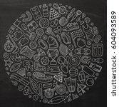 chalkboard vector hand drawn... | Shutterstock .eps vector #604093589