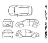 offroad suv auto outline vector ... | Shutterstock .eps vector #604094231