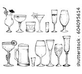 cocktails   set of 14 hand... | Shutterstock .eps vector #604095614