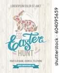 happy easter poster or greeting ... | Shutterstock .eps vector #604095659